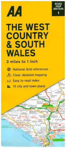 AA Straßenkarte Blatt 1, Südwest England & Süd Wales 1:200.000