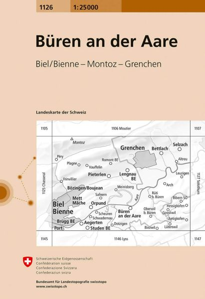1126 Büren a. A. topographische Karte Schweiz 1:25.000
