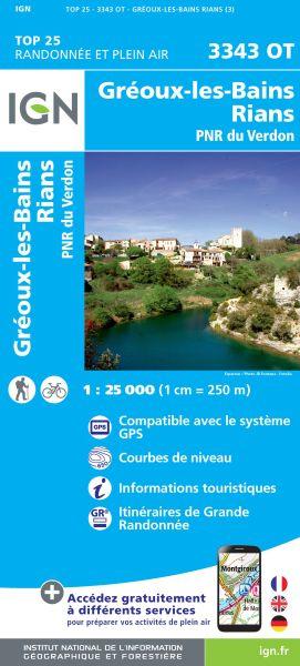 IGN 3343 OT Greoux-les-Bains, Rians, Verdon, Frankreich Wanderkarte 1:25.000