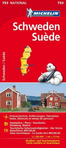 Michelin 753 Schweden; Ortsverzeichnis, Stadtpläne: Stockholm, Göteborg, Malmö. 1:1.200.000
