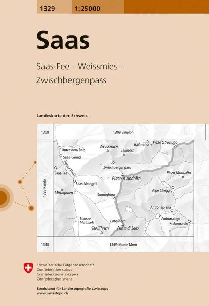 1329 Saas topographische Wanderkarte Schweiz 1:25.000