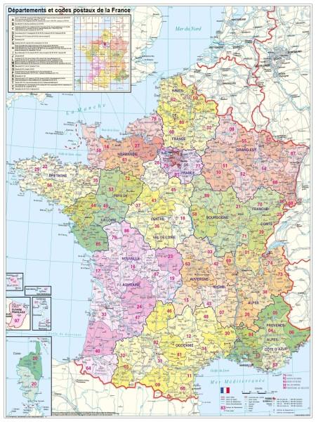Frankreich Postleitzahlenkarte groß mit Metallleisten, Poster, Stiefel Verlag 97x119 cm