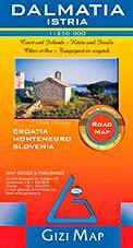 Dalmatien, Istrien (Kroatien) Geographical Map Straßenkarte 1:250.000, Gizi Map