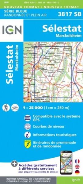 IGN 3817 SB Sélestat-Marckolsheim, Frankreich topographische Karte 1:25.000