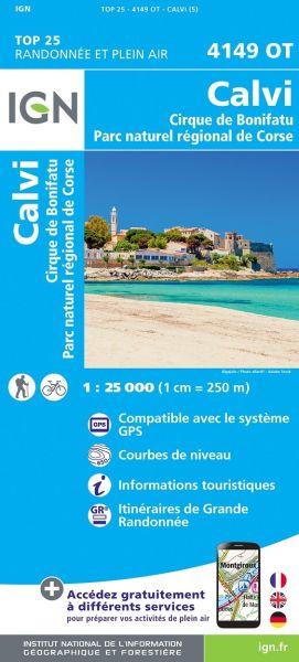 IGN 4149 OT Calvi - Cirque de Bonifatu, Korsika Wanderkarte 1:25.000