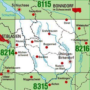 8215 ÜHLINGEN-BIRKENDORF topographische Karte 1:25.000 Baden-Württemberg, TK25