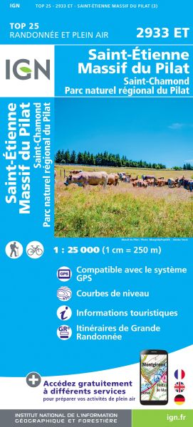 IGN 2933 ET Massif du Pilat / St-Etienne / St-Chamond / PNR du Pilat, Wanderkarte 1:25.000