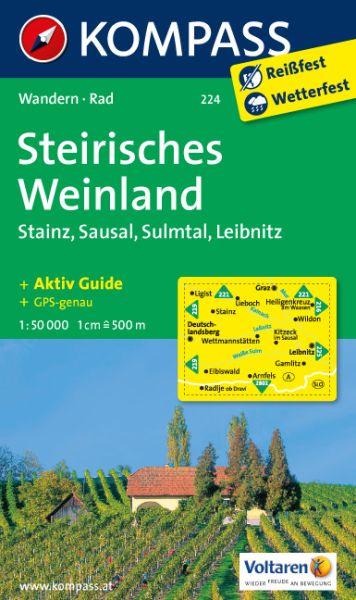 Kompass Karte 224, Steirisches Weinland 1:50.000, Wandern, Rad fahren