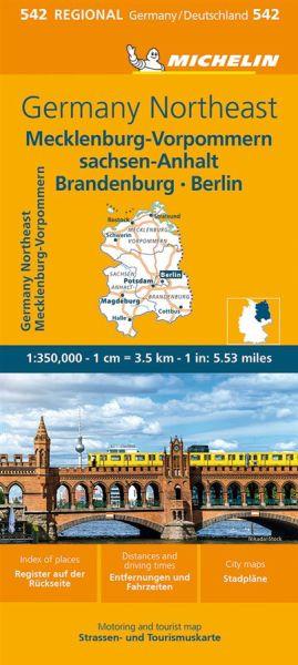 Michelin 542 Mecklenburg-Vorpommern - Berlin - Sachsen-Anhalt - Brandenburg; Straßenkarte