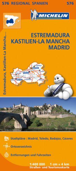 Michelin regional 576 Estremadura, Kastilien-La Mancha, Madrid; Straßenkarte