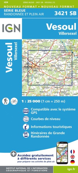IGN 3421 SB Vesoul/Villersexel; Frankreich topographische Karte 1:25.000