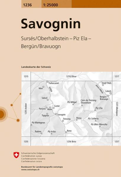 1236 Savognin topographische Wanderkarte Schweiz 1:25.000