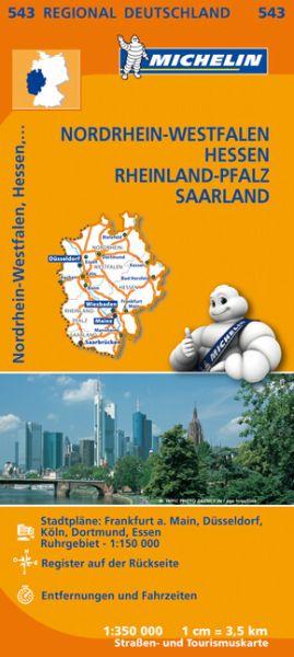 Michelin 543 Nordrhein-Westfalen, Hessen, Rheinland-Pfalz, Saarland; Straßenkarte