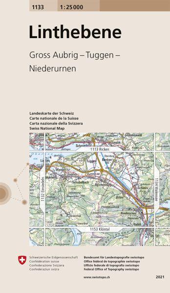 1133 Linthebene topographische Wanderkarte Schweiz 1:25.000