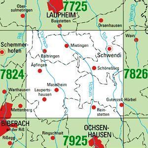7825 SCHWENDI topographische Karte 1:25.000 Baden-Württemberg, TK25