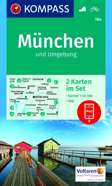 Kompass Karten Set 184, München und Umgebung 1:50.000, Wandern, Rad fahren