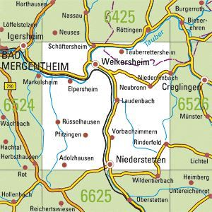 6525 WEIKERSHEIM topographische Karte 1:25.000 Baden-Württemberg, TK25