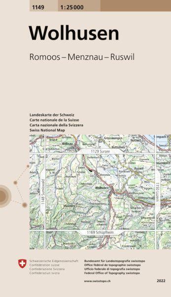 1149 Wolhusen topographische Wanderkarte Schweiz 1:25.000