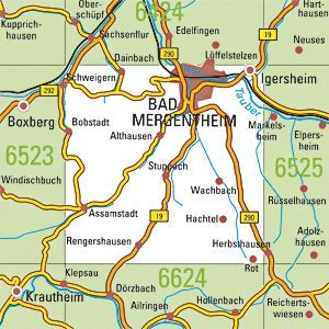 6524 BAD MERGENTHEIM topographische Karte 1:25.000 Baden-Württemberg, TK25