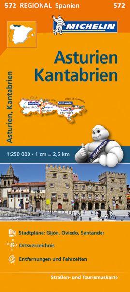 Michelin regional 572 Asturien, Kantabrien; Straßenkarte
