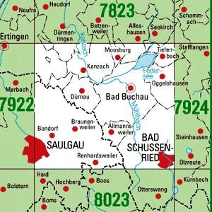 7923 SAULGAU OST topographische Karte 1:25.000 Baden-Württemberg, TK25