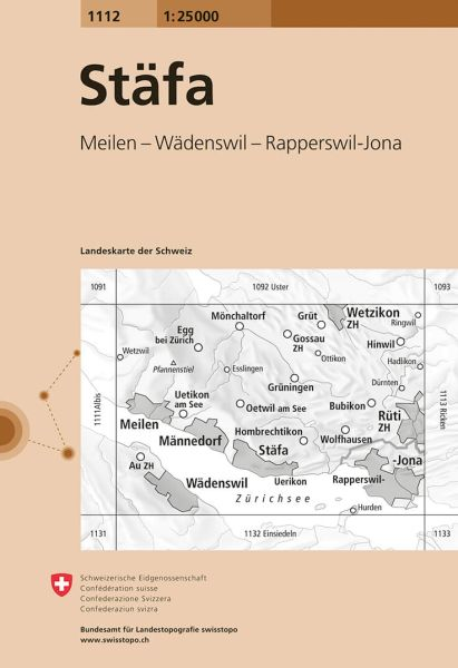 1112 Stäfa topographische Wanderkarte Schweiz 1:25.000