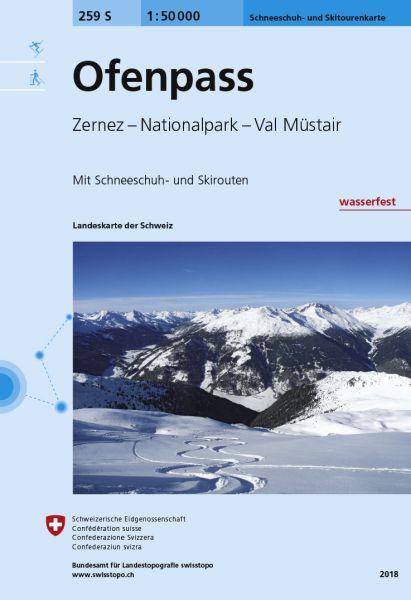259 S Ofenpass topographische Skitourenkarte 1:50.000