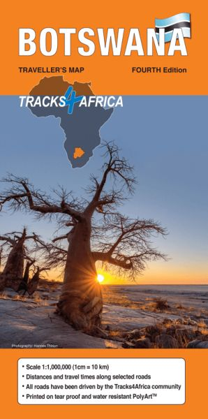 Botswana Straßenkarte 1:1.000.000 - Tracks4Africa