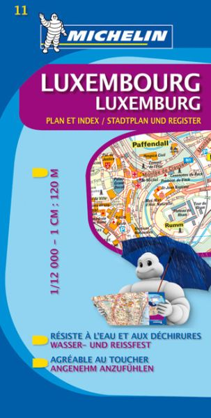 Michelin 11 Luxemburg Stadtplan,. wasser- und reißfest, 1:12.000