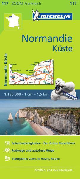 Michelin Zoom 117 Normandie Küste Straßenkarte 1:150.000