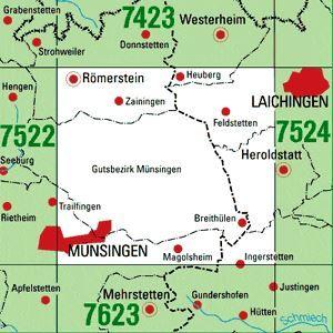 7523 MÜNSINGEN topographische Karte 1:25.000 Baden-Württemberg, TK25
