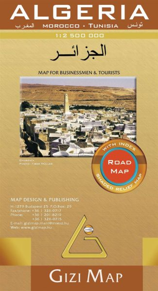 Algerien Geographical Map Straßenkarte 1:2.500.000, Gizi Map