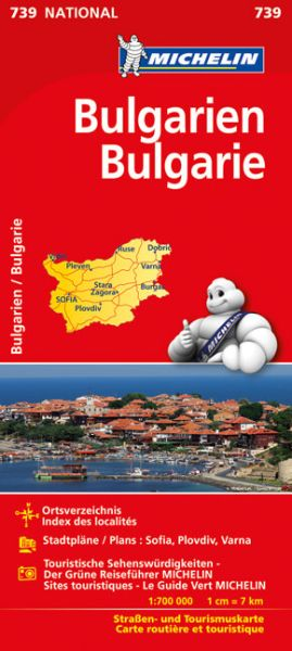 Michelin 739 Bulgarien Straßenkarte 1:700.000
