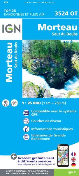 IGN 3524 OT Morteau, Saut du Doubs, Frankreich topographische Wanderkarte 1:25.000