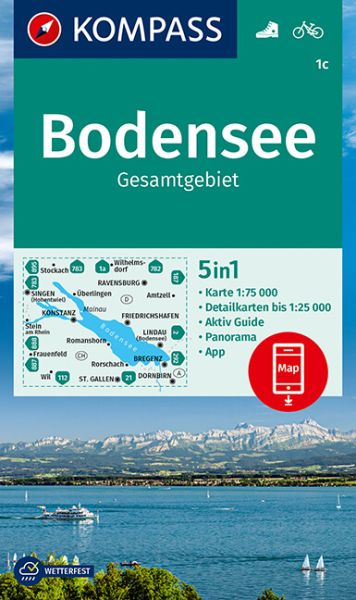 Kompass Karte 1c, Bodensee 1:75.000, Wandern, Rad fahren