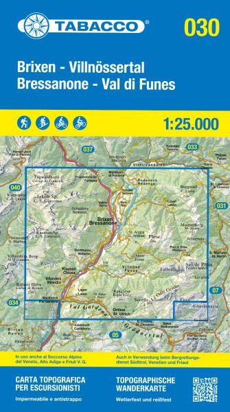 Tabacco 030 Bressanone / Brixen - Val di Funes / Villnöss Wanderkarte 1:25.000