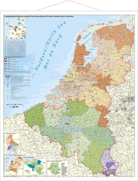 Belgien Niederlande Luxemburg Postleitzahlenkarte groß mit Metallleisten, Poster, Stiefel 97x119 cm