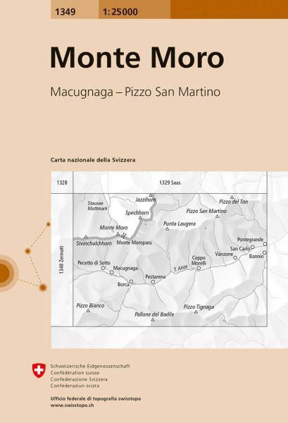 1349 Monte Moro topographische Wanderkarte Schweiz 1:25.000