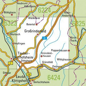 6324 TAUBERBISCHOFSHEIM OST topographische Karte 1:25.000 Baden-Württemberg, TK25