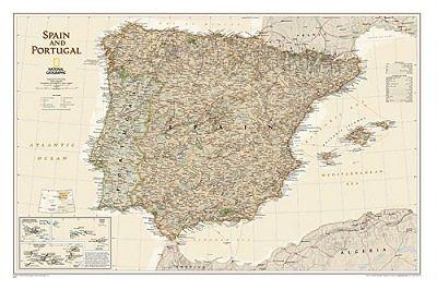 NGS Poster Spanien - Portugal Landkarte Antik Executive 84 cm x 56 cm.