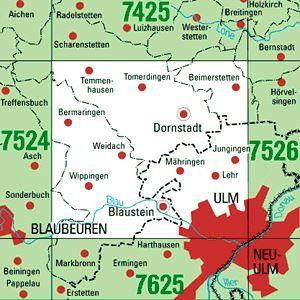 7525 ULM-NORDWEST topographische Karte 1:25.000 Baden-Württemberg, TK25