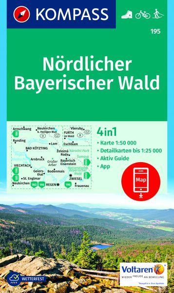 Kompass Karte 195, Nördlicher Bayerischer Wald 1:50.000, Wandern, Rad fahren