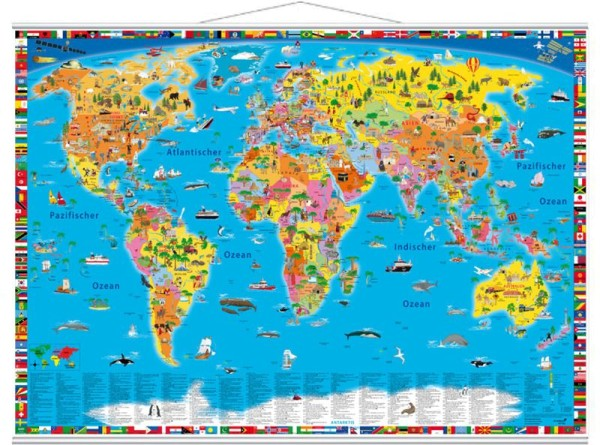Illustrierte politische Weltkarte mit Metallleisten, 100cm x 70cm, Geocenter