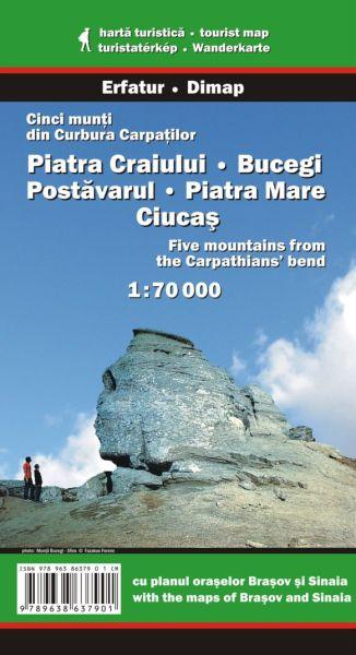 Karpaten Wanderkarte: Cinci munti din Carbura / Piatra Craiului Bucegi / Fünf Gebirge