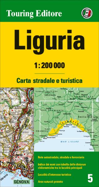 Ligurien Straßenkarte 1:200.000, TCI 5, Liguria