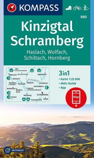 Kompass Karte 880, Kinzigtal, Schramberg 1:25.000, Wandern, Rad fahren