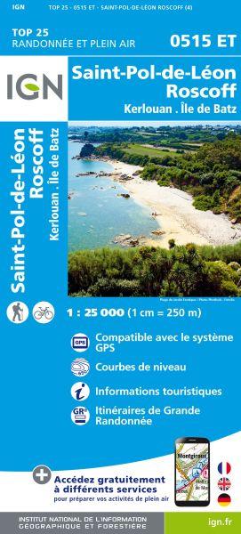 IGN 0515 ET St-Pol-de-Leon, Roscoff, Frankreich Wanderkarte 1:25.000