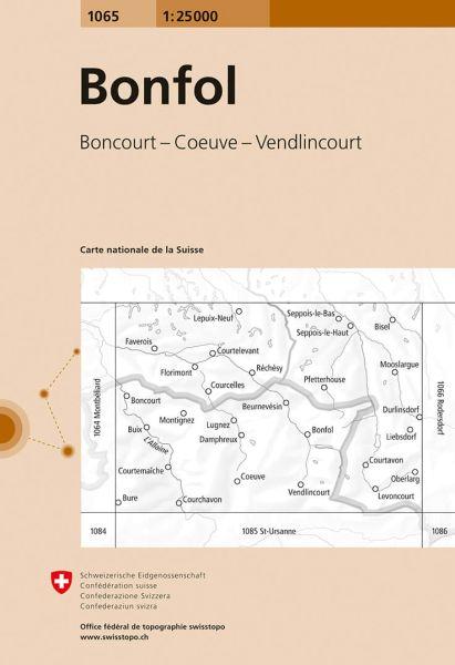 1065 Bonfol topographische Wanderkarte Schweiz 1:25.000