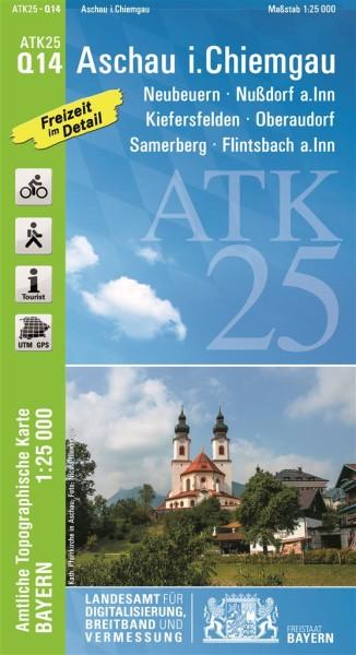 ATK25 Q14 Aschau i.Chiemgau, 1:25.000 amtliche topographische Karte mit Wander- und Radwegen