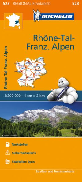 Michelin regional 523 Rhône-Tal, Französische Alpen Straßenkarte 1:200.000
